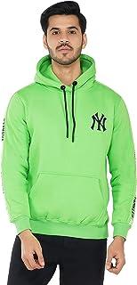 Urban Age Clothing Co. Men's Heavyweight Fleece Newyork Yankees Chest and Sleeves Print Hoodie Sweatshirt for Winter Tempe...