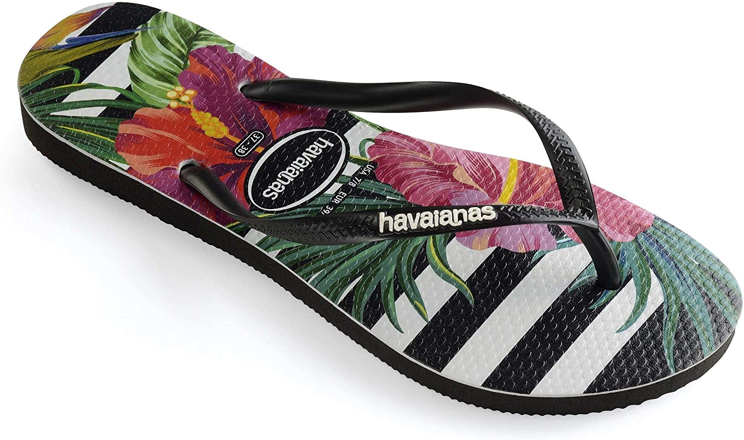 Havaianas Women's Slim Flip Flop Sandals, Tropical Floral Black