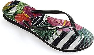 Havaianas Women's Slim Flip Flop Sandals, Tropical Floral Black