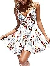 ECOWISH Womens Dresses Summer Floral Print V-Neck Spaghetti Strap Mini Swing Skater Dress with Belt