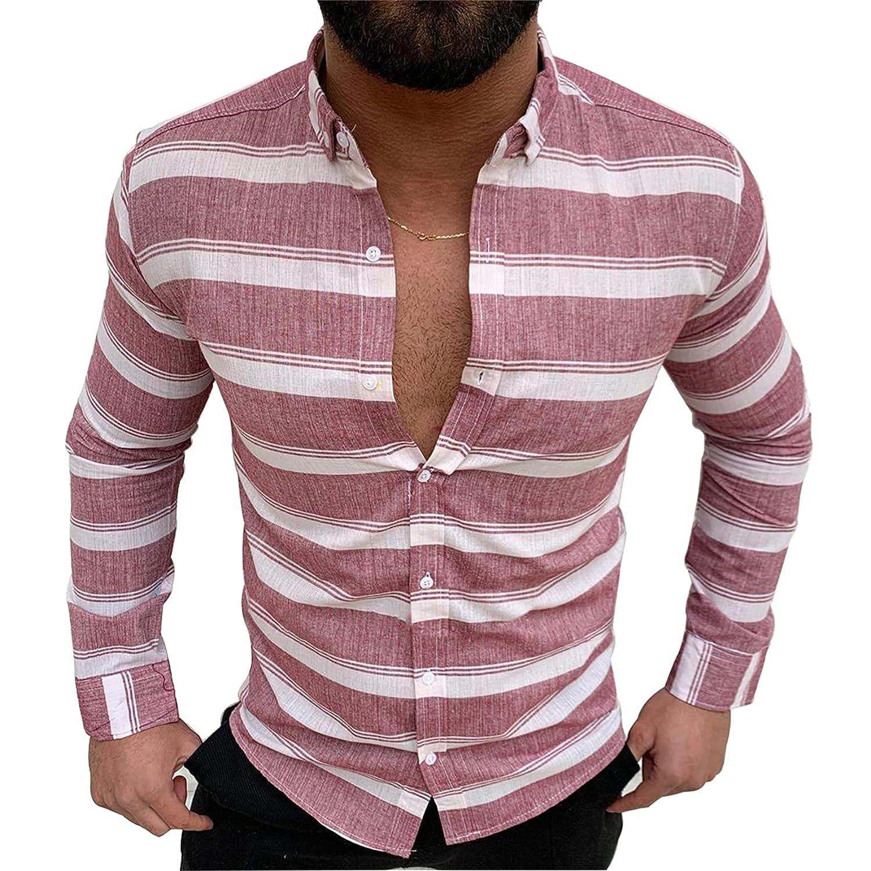 Men Candy Stripe Shirt Long Sleeve Linen and Cotton Blend Shirts Button Down Dress Shirt (XXX-Large,Red)