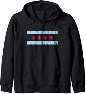 Retro Distressed Chicago Flag Star & Stripe Gift Zip Hoodie