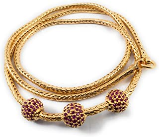 AFJ GOLD 1 Gram Micro Gold Plated Traditional Designer Ruby AD Stone Mugappu Chain for Women and Girls
