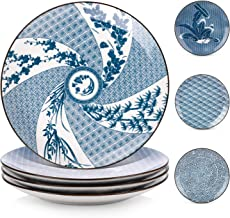 Y YHY Porcelain Dinner Plate Set, 10 Inches Serving Plates, Assorted Patterns, Blue and White, Set of 4