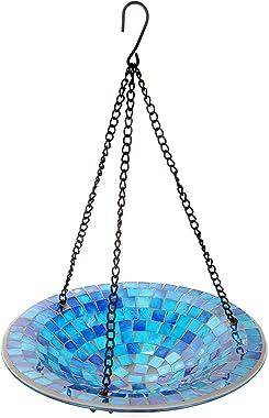 "Lily's Home Hanging Colorful Mosaic Glass Bird Bath Bowl - 11"" Diameter. (Blue)"