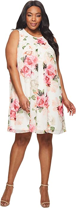 Calvin Klein Plus Plus Size Printed Chiffon Dress