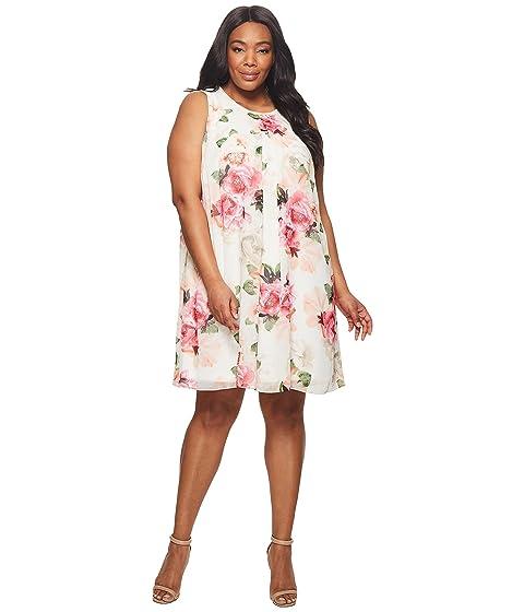 0aa52e374fa6 Calvin Klein Plus Plus Size Printed Chiffon Dress at 6pm