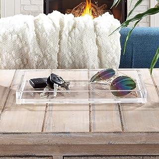 Lavish Home Clear Acrylic Catchall Tray-Decorative Rectangular Modern Minimalist Valet Organizer for Bedside, Bathroom or ...
