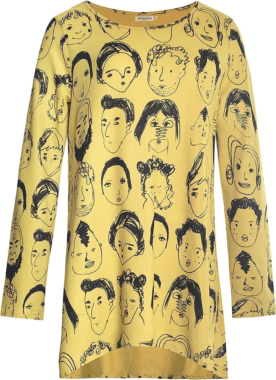 LaVieLente Women's Graphic Print Long Str Tunic Tulsa Mall Sleeve Tops Soft free