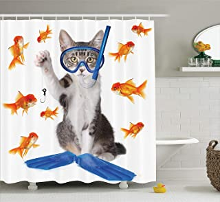 "Ambesonne Cat Shower Curtain, Modern Spin on The Term Fishing Curiosity Goldfish Hunting Humorous Art, Cloth Fabric Bathroom Decor Set with Hooks, 70"" Long, Blue Orange"