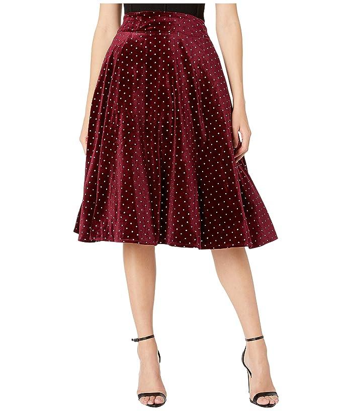 Unique Vintage Retro Style High-Waist Vivien Swing Skirt in Burgundy/Silver