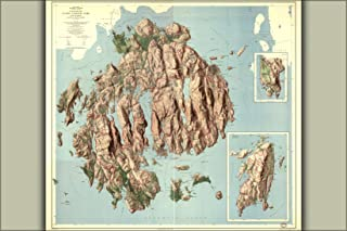 24x36 Poster; Topographic Map, Acadia National Park Maine 1960; Antique Reprint