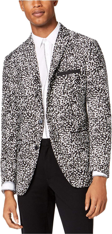 INC Mens Printed Slim-Fit Two-Button Blazer B/W M