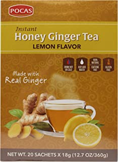 Pocas Honey Ginger Tea, Lemon, 12.7 Ounce, 20 Bags (Pack of 2)
