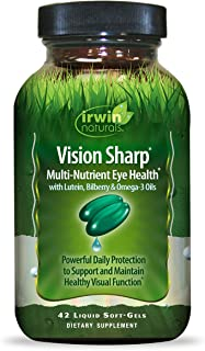 Irwin Naturals Vision Sharp Multi-Nutrient Eye Health with Lutein, Bilberry & Omega-3s - 42 Liquid Softgels