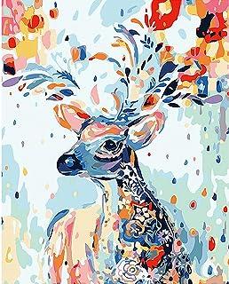 gracosy Måla efter nummer gör-det-själv oljemålning ritkit med tygborstar och akryl färgglada djurmönster konst set heminr...
