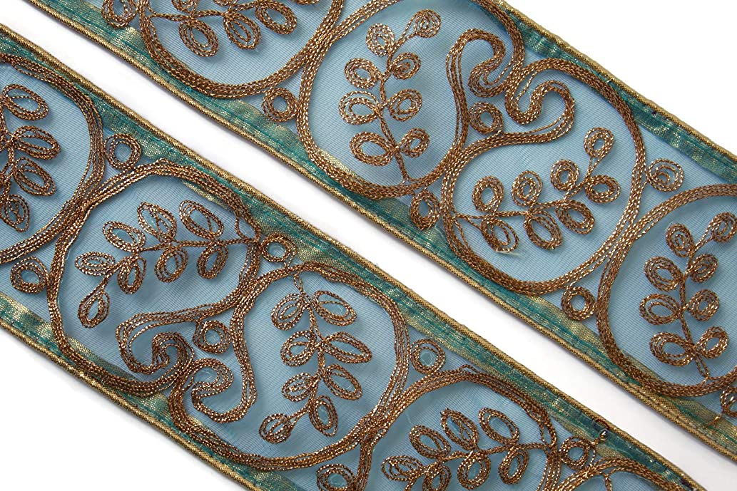 09 Yards of Indian Embellishment Handcrafted Trim zari Ribbon by iDukaancrafts