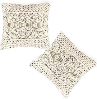 Aruma Coppercursh 18 Inches Macrame Throw Pillow Cover Cushion Case Decorative Pillowcase for Bed Sofa Couch Bench Car Boh...