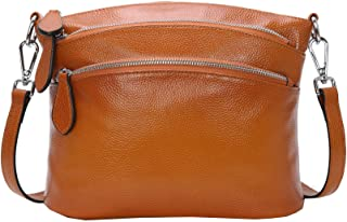 Heshe Womens Soft Leather Handbags Shoulder Bag Multi Zipper Pocket Small Bags Designer Handbag Crossbody Purse Satchel and Purses for Ladies