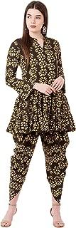 Crazora Women's Brown Short Kurta Dhoti Set