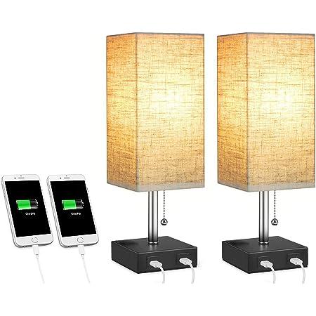 Glighone Lampe de Table de Chevet Lampe pour Chambre Lampe de Table & Bureau avec 2 Ports USB de Charge Rapide Lampe Abat-jour Tissu Veilleuse Idéale pour Salon, Salle d'étude, Paquet de 2