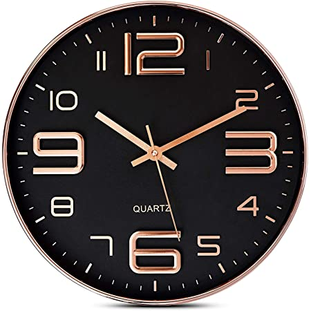 STAR WORK Wall Clock Non-Ticking Silent 30 cm Battery Operated Classic Quartz Clock Easy to Read for Room/Home/Kitchen/Bedroom/Office/School (1 to 12 Rose Gold & Black)