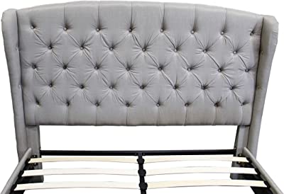 Best Master Furniture YY130 Yvette Upholstered Tufted with Wingback Platform Bed California King, Grey