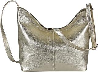 OBC Made in Italy Damen Echt Leder Tasche Crossbody Umhängetasche Schultertasche Messenger Clutch Tablet-Tasche bis ca. 10...