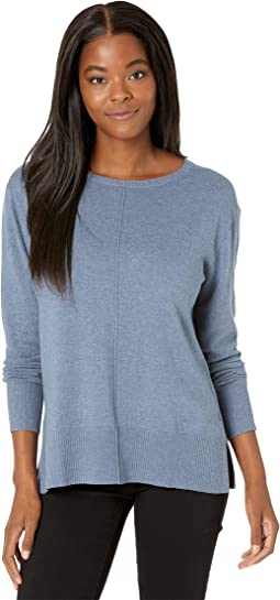 Cotton Cashmere Crew Neck Sweater with Seaming Details