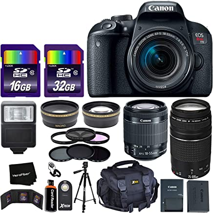 "$789 Get Canon EOS Rebel T7i Digital SLR Camera International Version + 18-55mm ""STM"" Lens + 75-300mm III Zoom Lens + Telephoto & Wide Lenses + Canon Case + Flash + ND & UV Filter Set + 48GB SD Memory + Tripod"