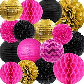 NICROLANDEE Hen Party Decorations Hot Pink and Black Tissue Pom Poms Glitter Gold Paper Lanterns Hanging Honeycomb Ball for Wedding Bridal Shower Wall Decor Valentines Decorations