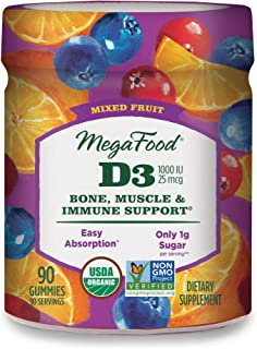 MegaFood, Certified Organic D3 Wellness Gummies, Soft Chew 1000 IU Vitamin D Supplement for Bone, Muscle and Immune Suppor...