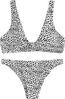 Women's Sexy Bikini Swimsuit Tie Knot Front Leopard Print Swimwear Set