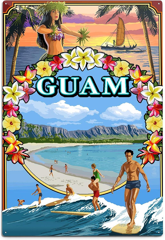 Lantern Press Louisville-Jefferson County Mall Guam Island Montage Scene Si Wall Aluminum 12x18 New sales