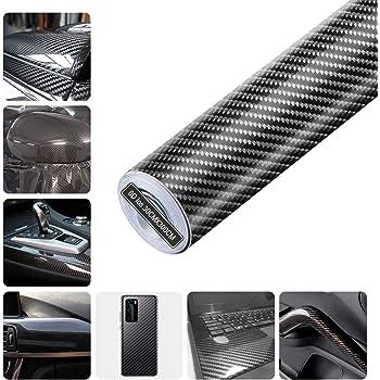 Cheelom DIY Pelicula Profesional Adhesiva De Vinilo De Fibra De Carbono 6D,vinil automotriz calefacción, impermeable, sin burbujas,para interior y exterior del automóvil, compuradora, cubo de rueda, computadora portátil, gamepad, automóvil, 0.3 x 3m