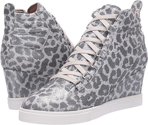 Silver Leopard Split Suede