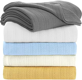 TreeWool 100% Soft Premium Cotton Thermal Blanket in Stripe Weave - Easy Care Comfortable and Warm Season Bed Layering (Queen Size - 90