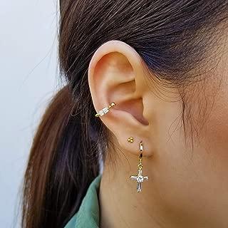 Cross Drop Hoop Earrings, Baguette CZ Cross Earrings, Small Cubic Cross Earrings, Dainty Gold Cross Earrings, Small Huggies, MIRANDA EARRINGS