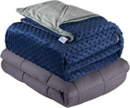 Quility Premium Cotton 60 by 80 in for Full Size Bed 20 lbs Adult Weighted Blanket Grey with Removable Duvet Cover Navy Blue