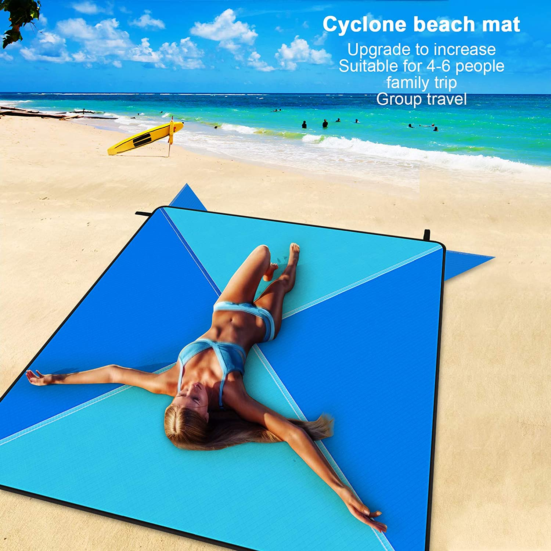 Redmoo Coperta da Picnic 205 x 205 cm Coperta da Spiaggia Tappetino da Spiaggia Telo Mare Impermeabile Coperta da Campeggio Coperta da Spiaggia Leggera con Tasca moschettone e 4 Angoli di Fissaggio