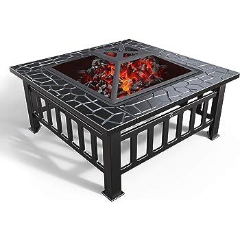 VOUNOT Brasero Exterieur pour Jardin Terrasses BBQ 3 en 1 Feu en extérieur pour ête et Foyer et Barbecue Brasero 81 * 81 * 45cm Poêle Chauffant Noir