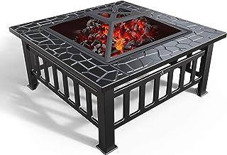 VOUNOT Feuerschale mit Funkenschutz und Grillrost, Feuerstelle Feuerkorb für Garden Terrasse Heizung BBQ, mit Wasserfester Schutzhülle, 81x81x45cm