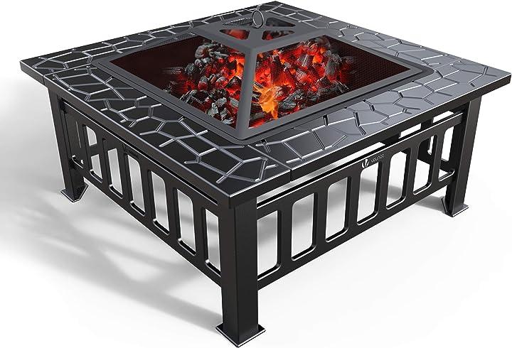 Braciere da giardino,3 in 1 firepit da tavolo quadrato per barbecue e riscaldamento,secchiello ghiaccio vounot 3933396074519