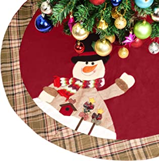 Woooow Christmas Tree Skirt, 48 inch Plaid Edge Linen Burlap Tree Skirt Mat with 3D Snowman Santa Claus for Indoor Outdoor Christmas Decorations Home and Holiday Party