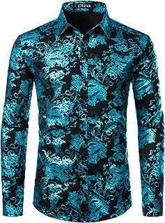 ZEROYAA Men`s Luxury Paisley Shiny Printed Stylish Slim Fit Button Down Dress Shirt
