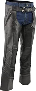 M-BOSS MOTORCYCLE APPAREL-BOS15502-BLACK-Men's jean style vented and reflective leather chaps.-BLACK-X-SMALL