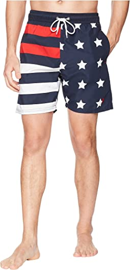 "7"" American Flag Print Swim Shorts"