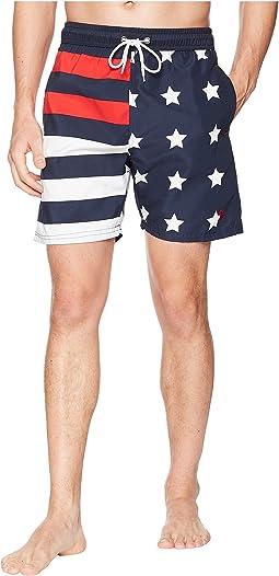 "7"" American Flag Print Swim Shorts"