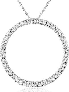 1 CT Diamond Circle Of Life Eternity Pendant 14K White Gold