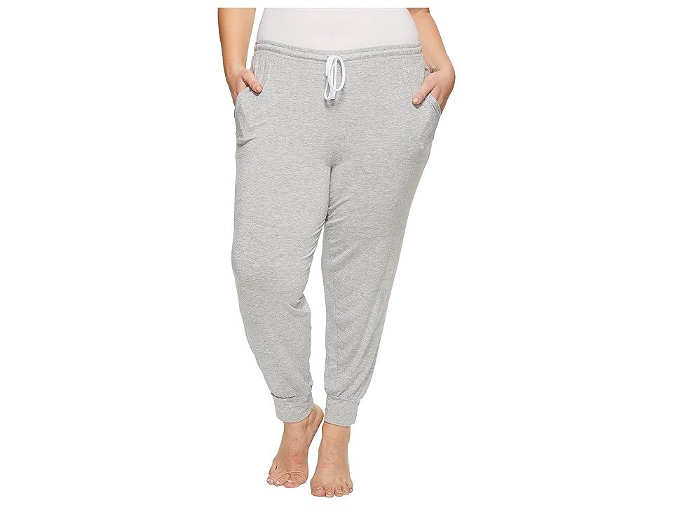 Donna Karan Plus Size Lounge Jogger Pants (Light Heather) Women
